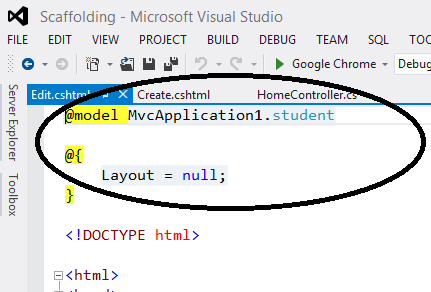 Create Edit of Scaffolding in MVC