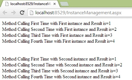 per session instance management